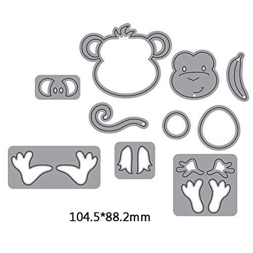 Metal Die Cut Stencil, Cartoons Animals Scrapbooking Card Making Embossing Cutting Dies DIY Accessories (Monkey)