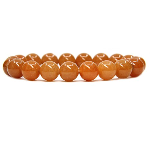 (Amandastone Natural Orange Aventurine Genuine Semi-Precious Gemstones Healing 10mm Beaded Stretch Bracelet 7