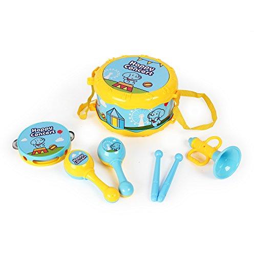 Joli Enfants Jouet Musical Instrument Combinaison Enfants Hochet Corne Sable Marteau Main Tambours Jouer Famille Jouet Ensemble