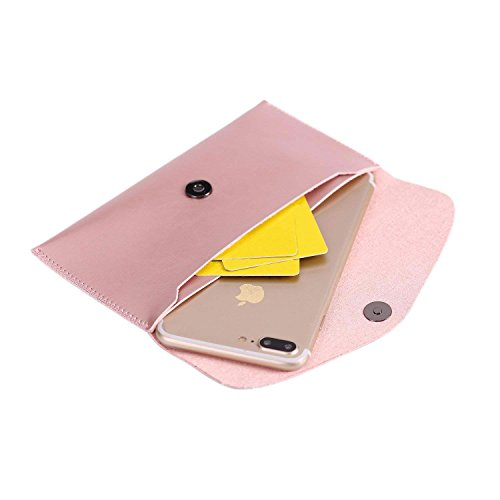 Ailzos Phone PU Leather Wallet Style Sleeve Case Cover,Portable Soft Fiber Leather Case Holster Cover Universal Pouch Sleeve for iPhone X/7 8 Plus,7,6S,6,5S/Samsung Galaxy S9 S8+ S8/S8 etc,Pink by Ailzos (Image #2)