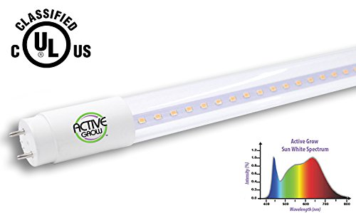 Active Grow T8/T12 High Output 4FT LED Grow Light Tube for Germination, Microgreens & Tissue Culture – 22 Watts – Sun White Full Spectrum (High CRI 95) – Single Ended Direct Wire 120-277V – UL Marked