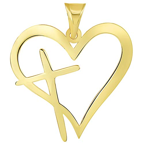 Solid 14k Yellow Gold Religious Cross In Heart Silhouette Pendant - Heart Silhouette Pendant