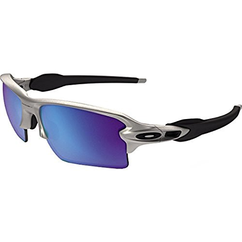 Oakley Flak Jacket 2.0 XL Sunglasses Lead / Sapphire Irid. & Cleaning Kit - 2.0 Sunglasses Xl Flak Oakley