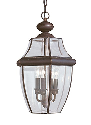 Sea Gull Lighting 6039-71 Three-Light Lancaster Outdoor Pendant, Clear Curved Beveled Glass, Antique Bronze