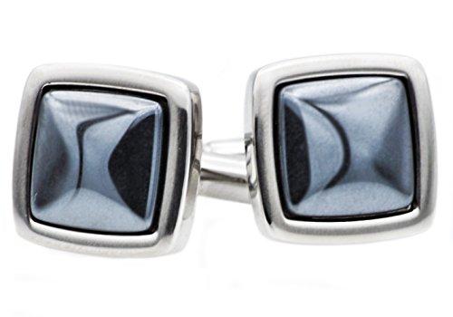 Blackjack Jewelry Mens Stainless Steel Genuine Gemstone Cuff Links (Hematite)