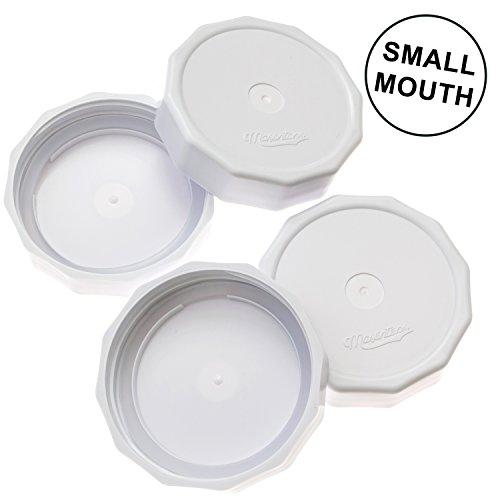 Masontops Tough Tops Premium Reusable Small Mouth Mason Jar Storage Lids - 4 Pack - Fits Any Regular Mouth Ball Kerr Bernardin Mason Jar ()
