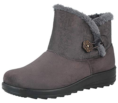 Ladies Cushion Walk Faux Suede Warm Faux Fur Lined Casual Comfort Ankle Boot Shoe Size 3-8 Grey/Button