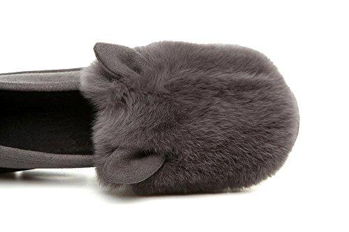 Appartamenti 36 76 donne gray GRAY mocassini scarpe 60cm confortevoli Bean pelliccia coniglio pelle in rORrv6n