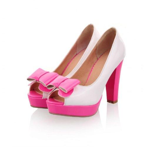 Charm Foot Fashion Bows Womens Platform High Heel Peep Toe Pumps Shoes (10, Rose Red)