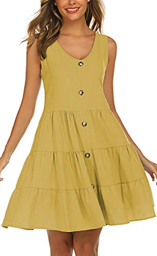 Halife Cute Dresses for Teen Girls Casual Summer Short Tiered Dress with Buttons Yellow S