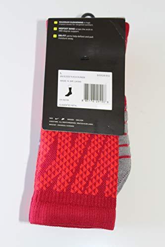 Nike 3-pk Dri-fit Cushioned Crew Socks for MEN (RED GREY, LARGE)