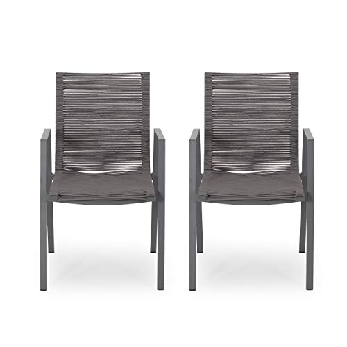 Elma Outdoor Modern Aluminum Dining Chair with Rope Seat (Set of 2), Gray and Dark Gray