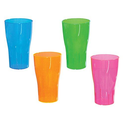 Party Essentials 10-Count Hard Plastic 16-Ounce Party Cup Pint Glasses, Assorted Neon -