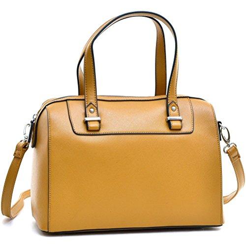 (Barrel Satchel Handbag Top Handle Shoulder Bag Zip Purse Small Tan)