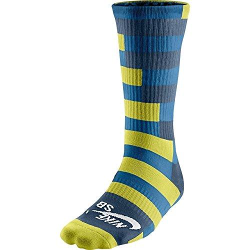 Nike SB Mens Dri-FIT Skateboarding Socks Large Lime Grey Blue