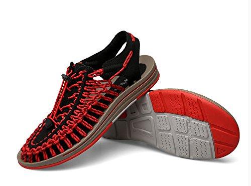 Xing Lin Sandalias De Hombre Sandalias De Verano Para Hombres Calzado De Playa Verano Calzado Casual Baotou Tendencia Roma Tejer Sandalias Black and red