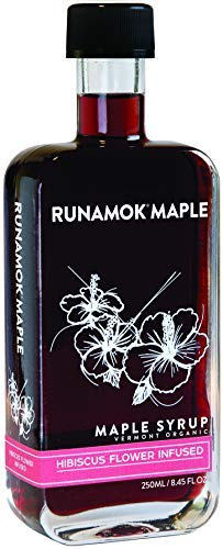 Runamok Maple's Hibiscus Flower Infused Maple Syrup | Organic Vermont Maple Syrup | 8.45 Ounce | 250 mL