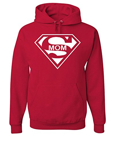 (Super Mom Funny Hoodie Superhero Parody Mother's Day Sweatshirt Red M)