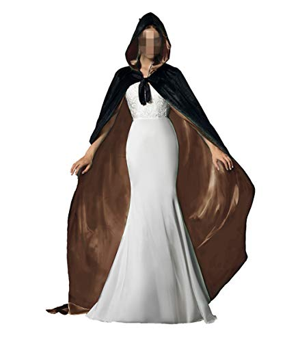 Black Gold Halloween Grim Reaper Hood Cloak Witch Medieval Cape Robe Cosplay Costumes ()