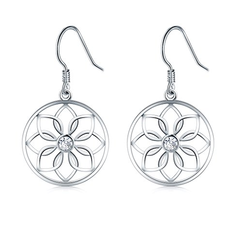 925 Sterling Silver Earrings, BoRuo Lotus Flower Yoga ()