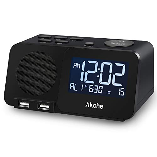 Akche Alarm Clocks for Bedrooms Night Light Digital Alarm Clock with FM Radio,Adjustable Volume,Dimmers with Three-Level Intensity, Two USB Charging Port,Two Alarm Setting ,White Digital Display