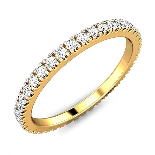 [14K Yellow Gold 0.41 ctw Round White Diamond Full Eternity Stackable Wedding Band for Her (IGI, I-J, SI1-SI2)] (Si2 Round Diamond Eternity Ring)