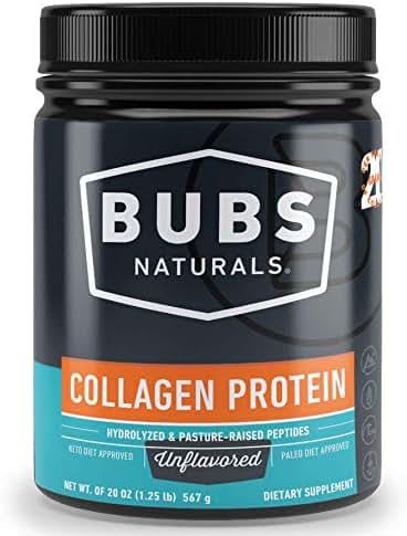 BUBS Naturals Collagen Peptides Pasture Raised Grass-Fed | Paleo & Keto Diet Friendly | Non - GMO | Dairy-Free Gluten-Free | Mixes Easy | Unflavored Collagen Powder (20oz Container)