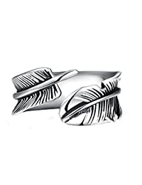 XIEXIE Men Jewelry Stainless Steel Cuff Ring Bague Homme Vintage Leaf Leaves Ring Men anel masculino