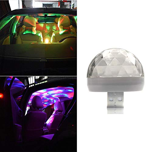 YOUNGFLY Mini Car Interior Light Rotating Ball USB LED Stage Colorful Light Sound Control Car DJ Party Projector Atmosphere Lamp Tool