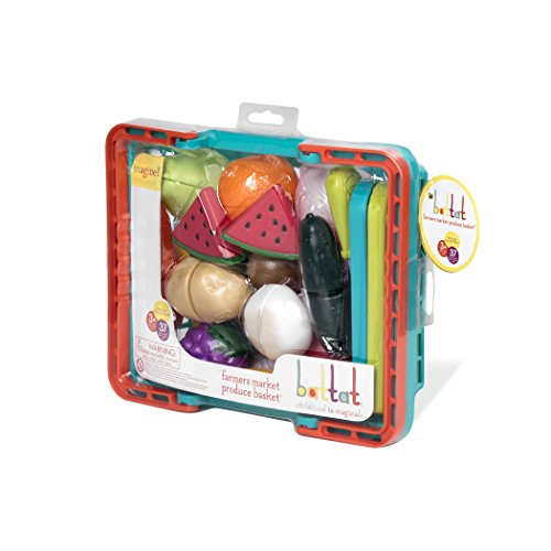 41uzWgVVfgL - Battat - Farmers Market Basket - Toy Kitchen Accessories - Pretend Cutting Play Food Set for Toddlers 3 Years + (37-Pcs)