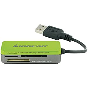 IOGEAR 12-in-1 USB 2.0 Pocket Flash Memory Card Reader/Writer GFR209 (Green)