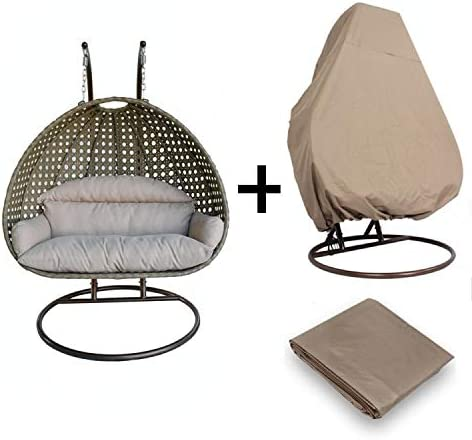 Island Gale Luxury Comfort 2 Person Outdoor, Patio, Hanging Wicker Swing Chair X Large-Plus, Latte w CH Cushion WD