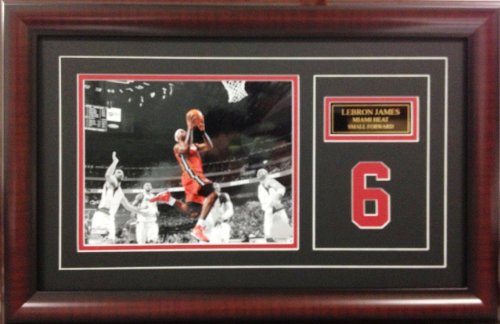 NBA Basketball Lebron James Miami Heat. Deluxe Framed Picture Photo with laser cut player number SKU #3006 - Deluxe Frame Miami Heat