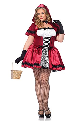 [Leg Avenue Women's Plus-Size 2 Piece Gothic Red Riding Hood Costume, Red/White, 1X/2X] (Womens Plus Halloween Costumes)