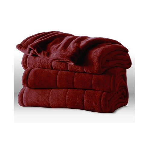 Red Electric Blanket - Sunbeam Channeled Microplush Heated Electric Blanket King Garnet Red