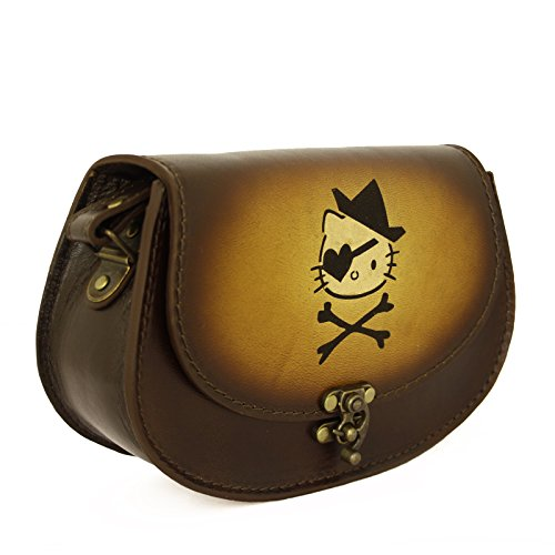 Vintage Handmade Véritable Brown à main en cuir avec une décoration Laser Pirate Kitty