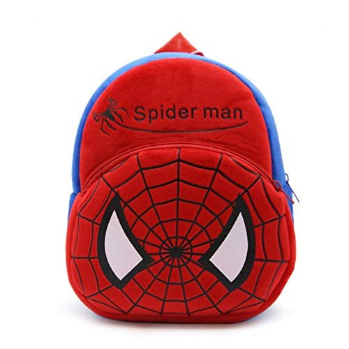 Blue Tree Boy's and Girl's Plush Soft Spiderman Cartoon School Bag (Multicolour, 3 to 5 Years)