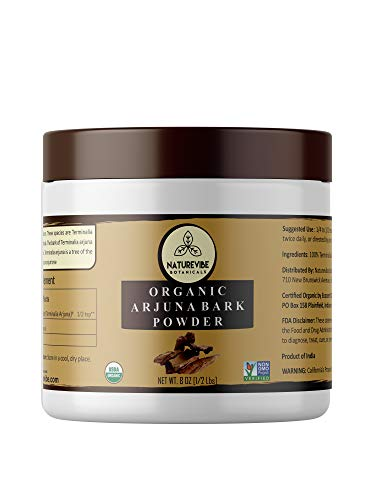 Naturevibe Botanicals USDA Organic Arjuna Bark Powder (8 Ounces) – Terminalia Arjuna – 100% Pure & Natural [Packaging May Vary]