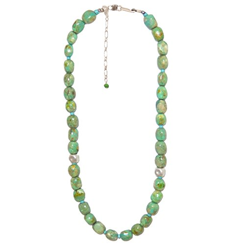 Masha Storewide Sale ! Sterling Silver Necklace By Nugget Green Turquoise With Sleeping Beauty Turquoise, Made in USA - Exclusive Southwestern Handmade Jewelry, 11mm, 20