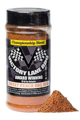Victory Lane BBQ Peach Sweet BBQ Rub-VLBBQ 16 OZ Shaker Award-Winning Championship Blend w/NEW INTERACTIVE Augmented Reality Labels-Scan Label & watch it come to Life w/How To Video! (Label Peach)