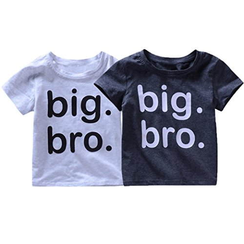 Moonker Baby Tops for 1-5 Years Old,Kids Toddler Baby Boys Letter Print Big Bro 2018 Summer New Soft Cute Tees T-Shirts (12-18 Months, Dark Gray) from Moonker