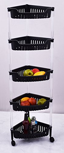 ALL FOR YOU 5-Tier Heavy Duty Plastic Rack/Organizer/Shelves with Clear Tubes and Wheels-Rectangular Shape (Black)