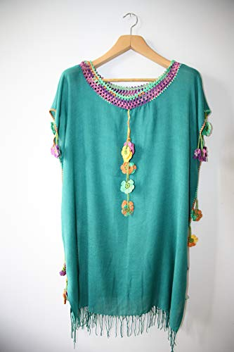 Green dress Handmade(handcraft) tunic and dresses maxi,midi and mini with different colours embroidered bohemian dress by softdresshandmade