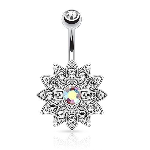 Bling Stars Belly Button Ring Jeweled Flower Clear Crystal Navel Ring (Clear Crystal)