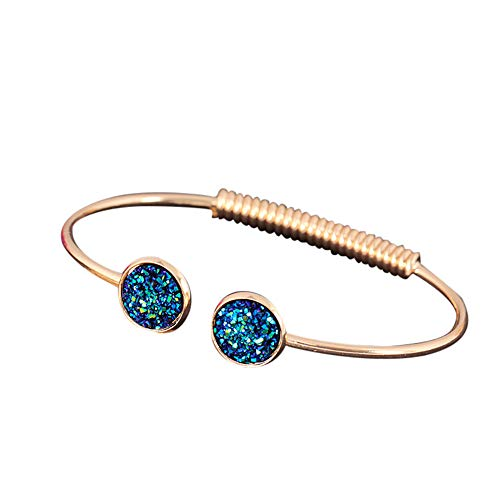 Sequins Cuff Bracelet Spiral Opening Cuff Bangle Jewelry Stainless Steel Disc Bracelet Punk Accessories Gifts for Girls (gold green)