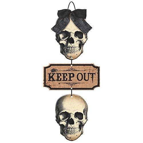 Amscan Boneyard Stacked Skulls Triple Sign | Halloween Decoration]()