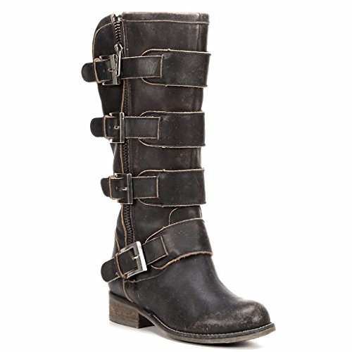 Corral Women's Distressed Black Straps & Zipper Boots P5079