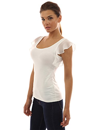 Ivory Flutter Sleeve Top - PattyBoutik Women Scoop Neck Flutter Tank Top (Ivory Large)