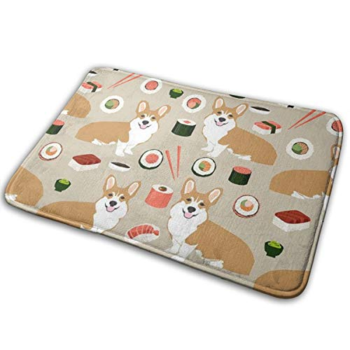 Anti-Slip Memory Foam Doormat Floor Mat Japanese Sushi Funny Corgi Dogs Home Decor Nursery Rugs Indoor & Outdoor Entrance Rug, Machine-Washable/Fast Drying/Anti Fatigue Doormat