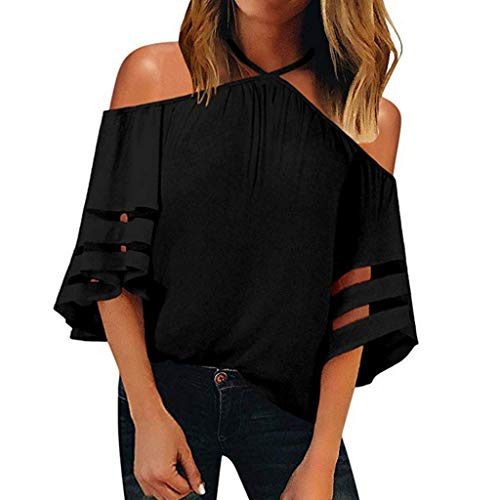 Women's V Neck Off Shoulder Mesh Panel Blouse 3/4 Bell Sleeve Loose Top Shirt Summer Casual Sexy Beach Tees Black
